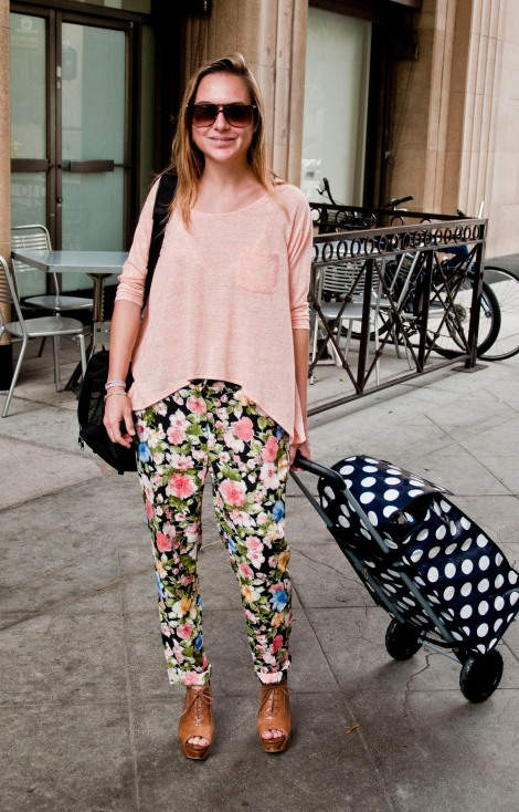 Myriam is wearing Sister Jane floral pants, an Urban Outfitters T-shirt and Zara heels. Almost all about Spain, as my showroom
