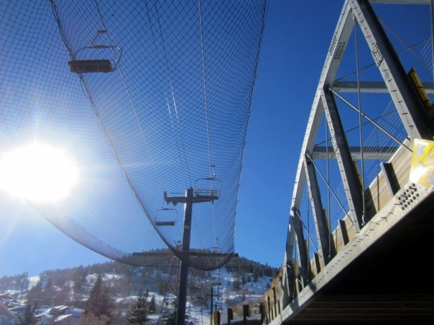 The iconic bridge and lift from Park Avenue in Park City.
